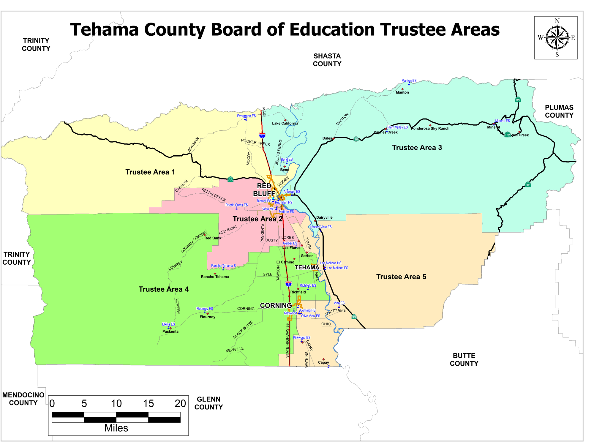 map of tehama county and the trustee areas